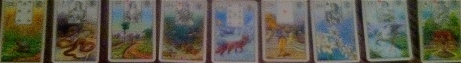 The worst photo ever taken of Lenormand cards: MICE SNAKE ROADS FISH FOX MAN LILY STORKS HOUSE